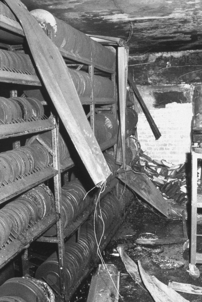 Film collections damaged in the fire.