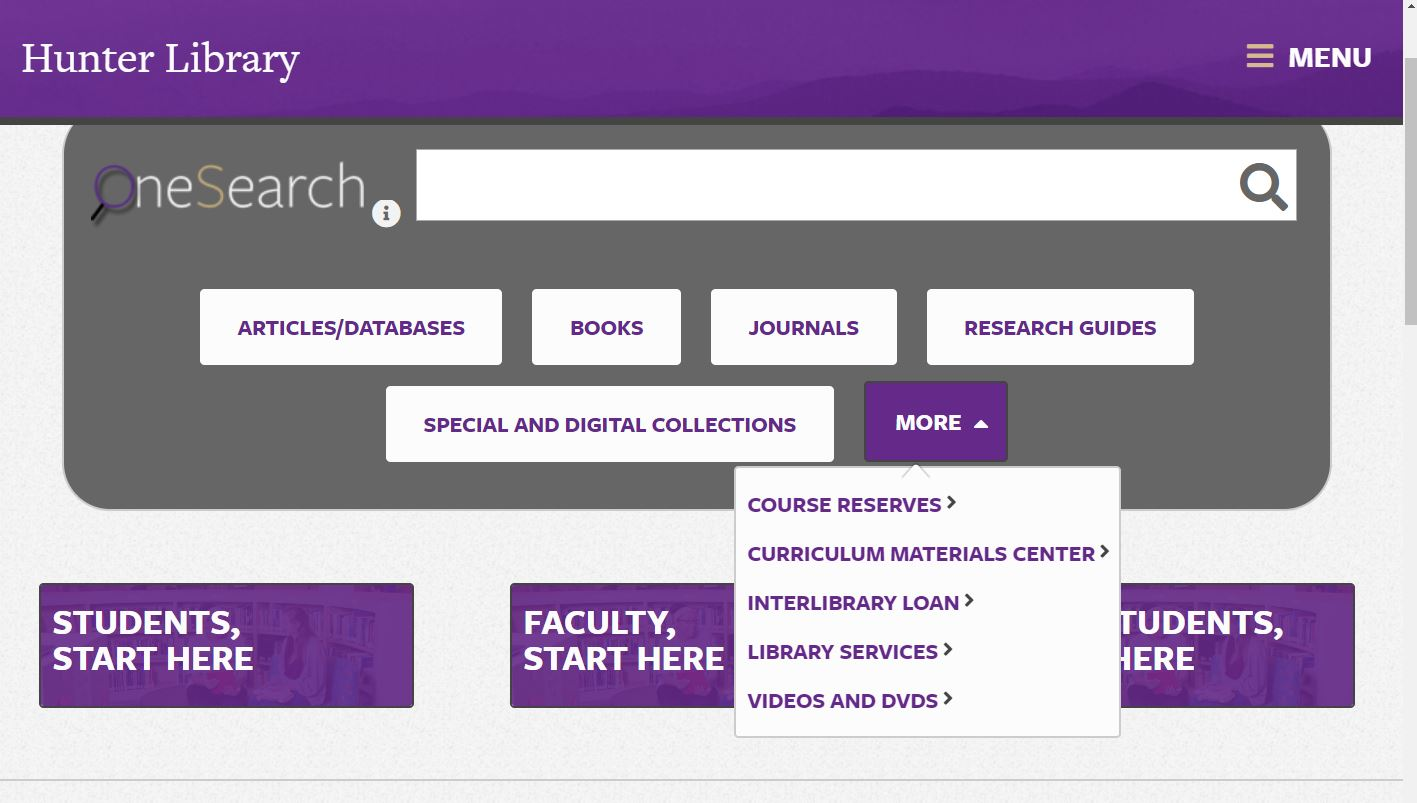 Image of Library Homepage.