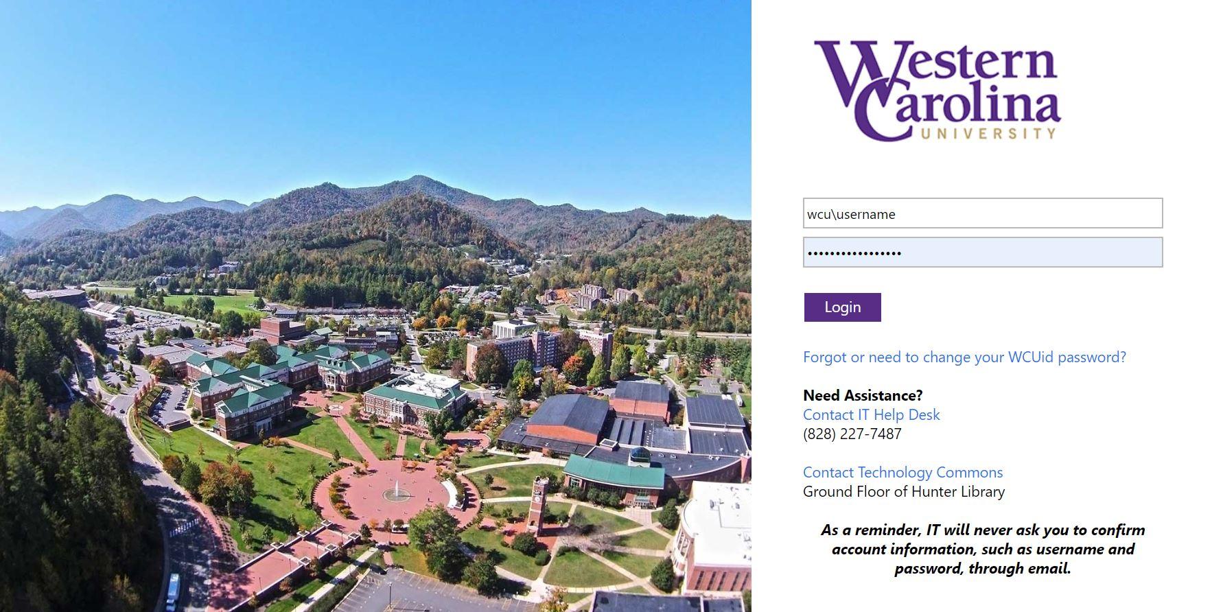 Image of WCU login screen.