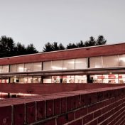 Photo of Hunter Library at dusk.